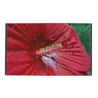雨滴を持つ赤いハイビスカス iPad ケース