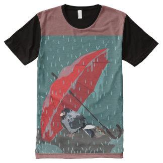 雨 オールオーバープリントT シャツ