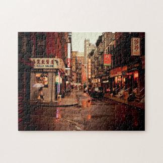 雨-中華街-ニューヨークシティ ジグソーパズル