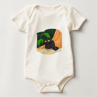 雨Tシャツの猫 ベビーボディスーツ