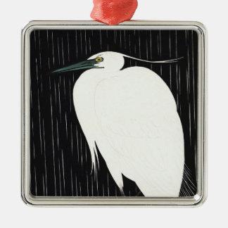 雨ukiyo-eの日本語のIde Gakusuiの白い鷲 メタルオーナメント