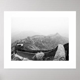 雪が付いている万里の長城 ポスター