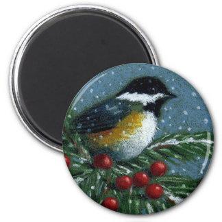 雪が多いマツ枝の《鳥》アメリカゴガラ マグネット