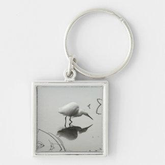 雪が多い白鷺の正方形の報酬のkeychain キーホルダー
