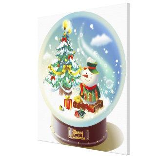 雪だるまおよびクリスマスツリーが付いている雪の地球 キャンバスプリント