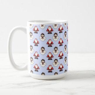 雪だるまおよびサンタパターン コーヒーマグカップ