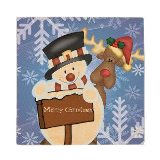 雪だるまおよびトナカイのメリークリスマス ウッドコースター