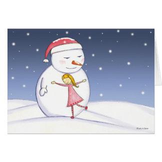 雪だるまおよび女の子の抱擁 カード