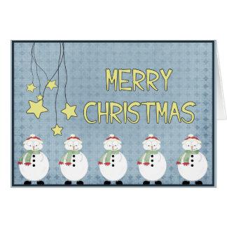 雪だるまおよび星X-Mas カード