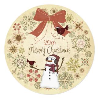 雪だるまおよび赤い鳥のメリークリスマスカード カード