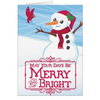 雪だるまおよび(鳥)ショウジョウコウカンチョウの休日カード カード