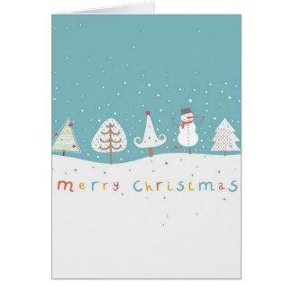 雪だるまが付いているかわいく、多彩なクリスマスカード カード
