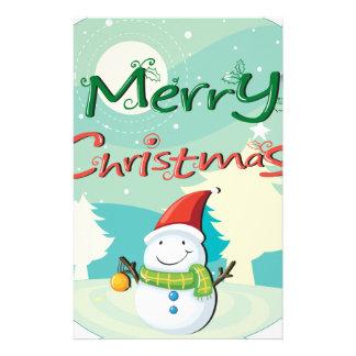 雪だるまが付いているクリスマスカード 便箋