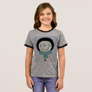 雪だるまが付いているデザイナーTシャツをからかいます リンガーTシャツ