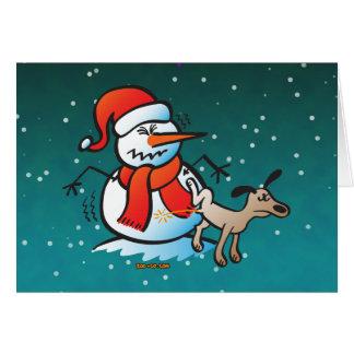 雪だるまで小便をしている犬 カード