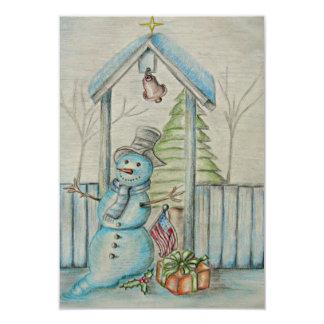 雪だるまのイラストレーション カード
