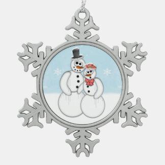 雪だるまのカップル スノーフレークピューターオーナメント