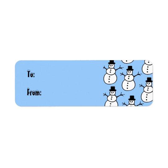 雪だるまのギフトのラベルのラベル 返信用宛名ラベル