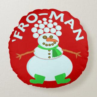 「雪だるまのクリスマスのためにおもしろい ラウンドクッション