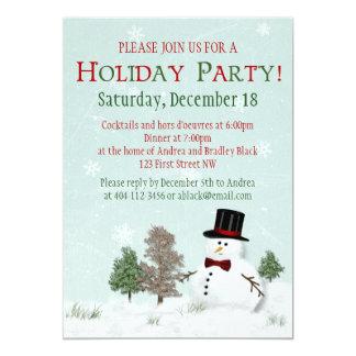 雪だるまのクリスマスの冬休みのパーティの招待状 カード