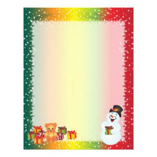 雪だるまのクリスマスの手紙紙 レターヘッド