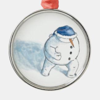 雪だるまのクリスマスの挨拶 メタルオーナメント