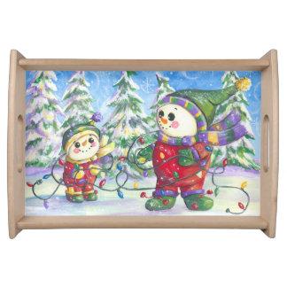 雪だるまのクリスマスの皿 トレー