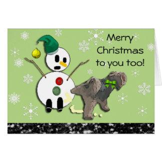 雪だるまのクリスマスカードで小便をしている犬 カード