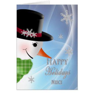 雪だるまのクローズアップ-クリスマス-姪 カード