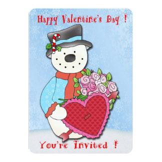 雪だるまのバレンタインデーのパーティの招待状 カード