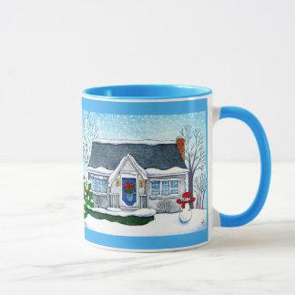 雪だるまのマグが付いているかわいいクリスマスの家 マグカップ