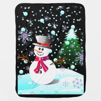 雪だるまのメリークリスマス ベビー ブランケット