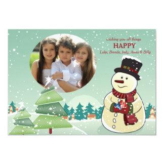 雪だるまの休日の写真カード カード