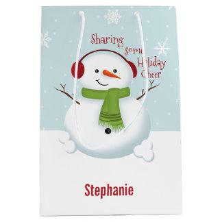 雪だるまの休日の応援 ミディアムペーパーバッグ