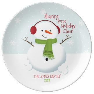 雪だるまの休日の応援 磁器プレート