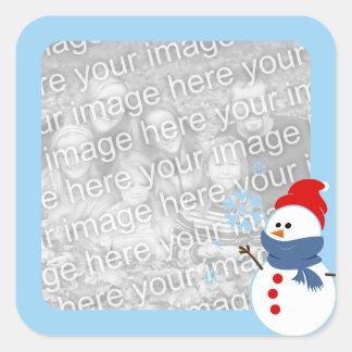 雪だるまの写真 スクエアシール