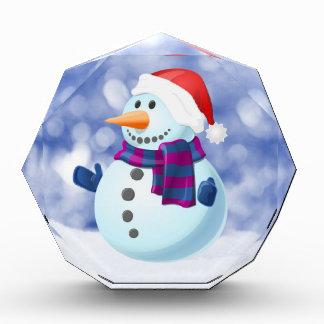 雪だるまの冬のメリークリスマスの雪 表彰盾