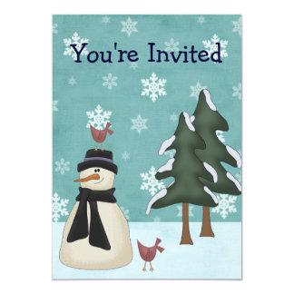 雪だるまの冬の誕生日のパーティの招待状 カード