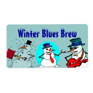 雪だるまの冬の青のHomebrewの一流のおもしろいの雪のラベル ラベル