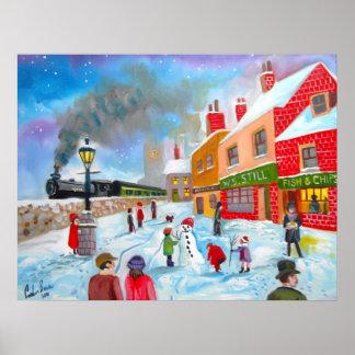 雪だるまの冬場面民芸の絵画の列車 ポスター