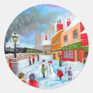 雪だるまの冬場面民芸の絵画の列車 ラウンドシール