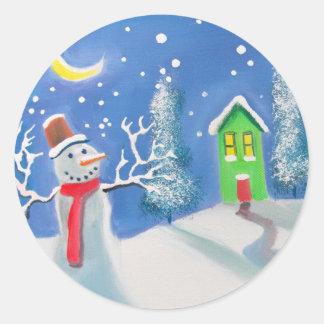 雪だるまの冬場面民芸の絵画 ラウンドシール