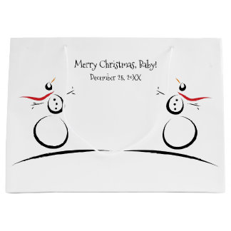 雪だるまの喜びのベビーの初めてのクリスマス ラージペーパーバッグ