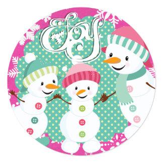 雪だるまの喜びの冬休み カード