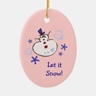 雪だるまの孫娘のクリスマスのオーナメント セラミックオーナメント