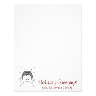 雪だるまの微笑のクリスマスの休日の手紙 レターヘッド