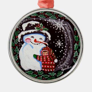 雪だるまの抱擁円形のオーナメント シルバーカラー丸型オーナメント