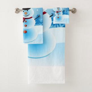 雪だるまの浴室タオルセット バスタオルセット