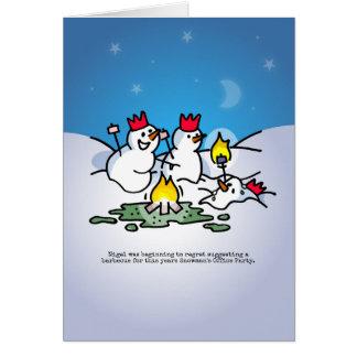 雪だるまの社内パーティーのクリスマスカード カード