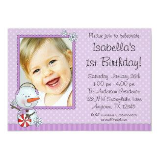 雪だるまの紫色の冬の写真の誕生日 カード